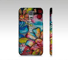 Étui I Pad mini, coque IPhone, étui Samsung fleurs multicolores par Marika Lemay…