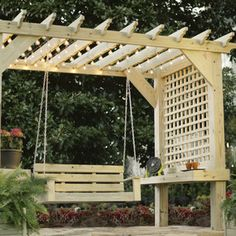 Check out this project on RYOBI Nation - This pergola has it all - built in shelves and modern lattice for shade on sides.  It's easy to build, and you can make it your own by cutting decorative patterns in the rafter tails.