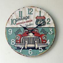 Reloj de pared antiguo reloj edad estilo rústico ee.uu. ruta 66 del diseño redondo reloj país rústico SERVICE GARAGE reparación última oportunidad reloj del coche(China (Mainland))