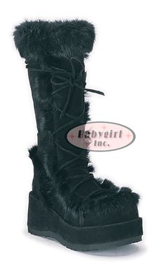 """Demonia Boots ~ Black Vegan Suede Furry Cyber """"Cubby Boots"""" $94.00"""