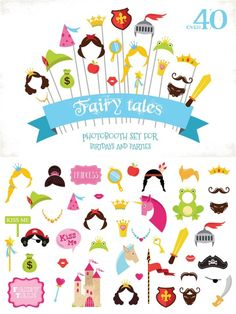 This is a set of more than 40 vector and PNG format fairy tale clipart. Perfect for themed birthdays, weddings and costume parties. Diy Photo Booth Props, Photos Booth, Fun Crafts For Kids, Diy For Kids, Disney Printables, Free Printables, Fairy Tale Costumes, Photobooth Props Printable, Fairy Tale Theme