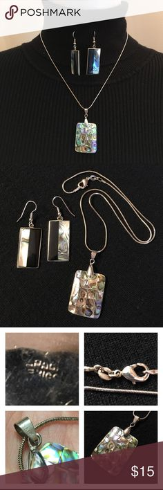 "Sterling Silver Necklace and Square Abalone Charm You get the earrings, necklace & Pendant in this listing. Chain is marked 925. The bale holding the sauté charm is marked 18k gold plate. The back of earrings are marked something Mexico. Not sure if these are Sterling silver or not. I would say they are silver plated but the hooks are stainless steel. Necklace 18.5"" long. Earrings 2"" long. Sterling Silver Jewelry Necklaces"
