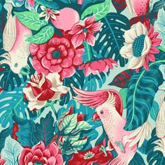 A seamless pattern with tropical birds and tapestry flowers, created on commission for an alternative fashion brand Cool Patterns, Print Patterns, Graphic Prints, Art Prints, Tribal Prints, Lily Flower Tattoos, Tropical Pattern, Tropical Birds, Motif Floral
