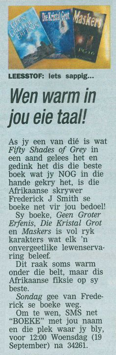 Editorial by Sondag newspaper. I Love You All, You And I, Let It Be, My Love, Afrikaans Language, Thanks For The Compliment, J Smith, Fifty Shades Of Grey, Newspaper