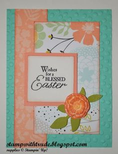 Sweet Sorbet Designer Series Paper, Decorative Dots embossing folder, Blessed Easter stamp from Stampin' Up! 2014 spring occasions catalog. See entire supply list on my blog.