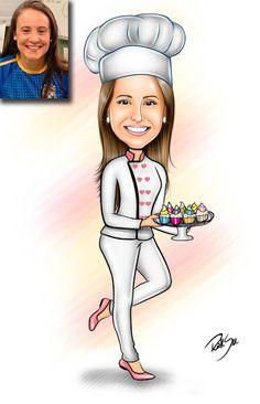 Caricaturas digitais, desenhos animados, ilustração, caricatura realista: Desenho de confeiteira !!