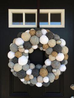 Handmade Winter Yarn Ball Wreath with a hint by EmbellishedLiving Dollar Tree Christmas, Christmas Crafts, Funky Home Decor, Bee Crafts, Yarn Ball, Diy Wreath, Wreath Ideas, Holiday Wreaths, Decoration