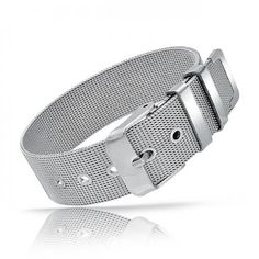 Stainless Steel Belt Buckle Mesh Bracelet 8in