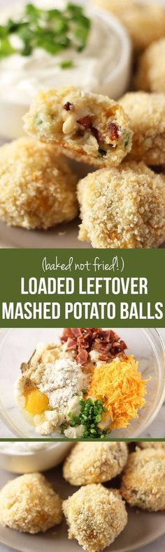 Loaded Leftover Mashed Potato Balls take advantage of extra Thanksgiving mashed potatoes by turning them into something even better. Baked, not fried! With cheddar, bacon(Mashed Potato Recipes) Loaded Mashed Potatoes, Leftover Mashed Potatoes, Mashed Potato Gravy Bombs, Recipes With Mashed Potatoes, Cheesy Potatoes, Baked Potatoes, Thanksgiving Leftover Recipes, Thanksgiving Leftovers, Turkey Leftovers