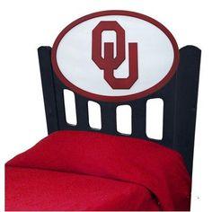 Fan Creations NCAA Slat Headboard NCAA Team: Oklahoma, Finish: Black, Size: Twin