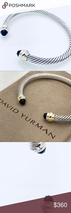 David Yurman Silver Bracelet w Black Onyx + Gold 100% Authentic Pre-Owned Fast and Safe Shipping  Trusted Seller I've Had Countless Sales without a Hitch!  I Accept Offers! Professionally Polished to Look New Comes with Pouch No Stains, Missing Stones, Tarnishes, etc Really Looks New!  925 Sterling Silver 14K Yellow Gold Faceted Black Onyx Cable, 5mm wide David Yurman Jewelry Bracelets