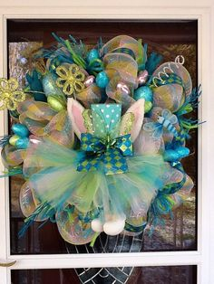Deco Mesh Easter Bunny Wreath by WreathsEtc on Etsy,