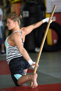 Ronda and her stretching stick