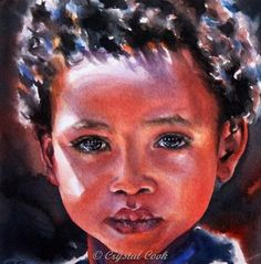 Original artwork from artist Crystal Cook on the Daily Painters Gallery African American Artwork, African Art, Watercolor Portraits, Watercolor Art, Painting People, Afro Art, Portrait Art, Portrait Paintings, Fine Art Gallery