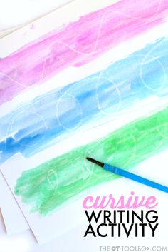 Try this watercolor resist activity to practice cursive handwriting including letter formation, cursive writing lines, and pre-cursive lines. Handwriting Activities, Improve Your Handwriting, Improve Handwriting, Cursive Handwriting, Cursive Letters, Handwriting Worksheets, Penmanship, Alphabet Letters, Writing Lines