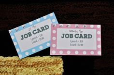 Chore Chart punch card - how the kids get paid!