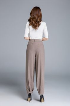 FEATURES: * Soft linen pants * light brown color * button front closure * pockets each side * all season pants * smart casual style * Length approx 95 cm * SIZE GUIDE http://etsy.me/2AC9UzJ NOTE Please leave us your body measurement When you Place an order, they will help us check the size