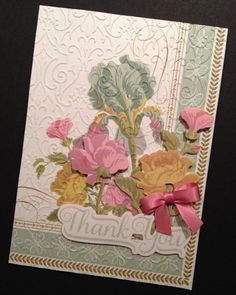 Fancy Floral Thank You Card with Embossed Anna Griffin Papers