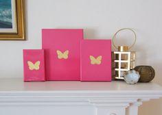 BUTTERFLIES Pink & Gold PAINTING Handmade by ThreeColumnsStudio