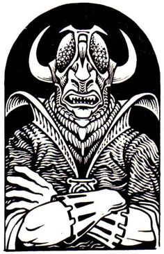 Baalzebul has a devil set aside for me — the Lord of the Flies, arch-devil, ruler of Malbolge and Maladomini, 6th and 7th planes of Hell, second only to Asmodeus. (Probably by Trampier, from the AD&D Monster Manual, TSR, 1977.)