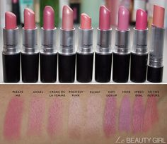 MAC Lipstick collection. Amazing set of swatches for MAC's popular pinks, so you can compare against the colors you already have.