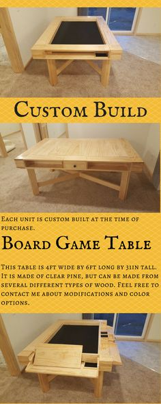 So beautyfully made and available in many types of wood and stains. This Board Game Table is a real practical and nice solution. #boardgametable #boardgame #table #ad #custom #bespoke
