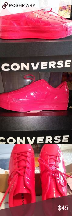 Shop Women's CONVERSE Red size Sneakers at a discounted price at Poshmark. Description: Brand new SIZE CONVERSE Ox one star platform sneakers! Converse One Star, Converse Sneakers, Cherry Red, Platform Sneakers, Brand New, Stars, Things To Sell, Platform, Trainer Shoes