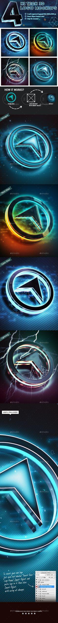 4 Hi-Tech 3D Logo Mockups #design Download: http://graphicriver.net/item/4-hitech-3d-logo-mockups/11969430?ref=ksioks
