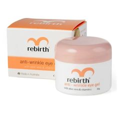 บอกต่อ  Rebirth Anti-Wrinkle Eye Gel with Vitamin E 30g.  ราคาเพียง  320 บาท  เท่านั้น คุณสมบัติ มีดังนี้ ลดเลือนรอยหมองคล้ำใต้ตา อุดมด้วยวิตามิน&E&ที่ช่วยกระตุ้นการผลิตเซลล์ผิวใหม่ ปรับสภาพผิวรอบดวงตาให้อ่อนนุ่มละไม ทำให้ดวงตาสดใสดูอ่อนวัยอยู่เสมอ