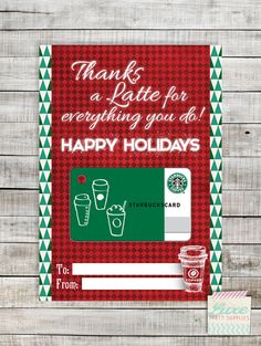 It's just a picture of Fan Thanks a Latte Christmas Printable