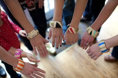 Design Improvised: DIY Night: Kollabora's Geo Painted Wooden Bangles  These would be fun to do at a Pinterest party too!
