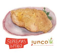 Breaded Chicken watercolor illustration for Junco - Gluten Free Food - ©Flap Jackie by Maria Wright