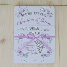 Fantasy Lilac Floral on white card handmade personalised wedding invitation set