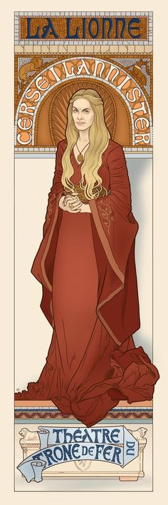 Cersei Lannister, the Lioness. Alphonse Mucha inspired art from Game of Thrones… - Fantasy Book Alphonse Mucha, Valar Morghulis, Fanart, Geeks, Arte Game Of Thrones, Art Nouveau Mucha, Art Magique, Game Of Thones, Got Characters