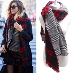 CAROLINA reversible plaid scarf - RED How cute is this blanket scarf? I'm getting a whole bunch in. These colors are warm for fall. Can be worn so many ways. Awesome quality. So in this season. I have 4 plaid blanket patterns available. Limited quantities. ‼️NO TRADE‼️ PRICE FIRM Bellanblue Accessories Scarves & Wraps