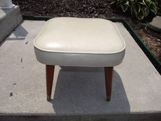 """MID CENTURY OTTOMAN 18 BY 18 BY 14"""" CREAM WHITE"""