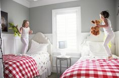 kids room. neutral with color added via bed.  Easy to change.