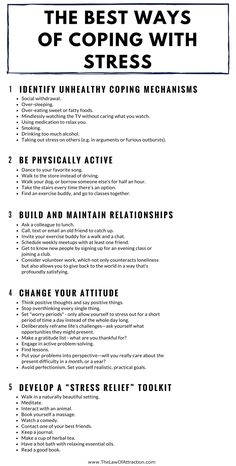 Learn to cope and decrease levels of stress with this handy list, they are easily achievable and easily implemented for anyone in any point of life.