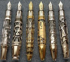 These are MontBlanc skeleton pens. The pens are limited edition and certainly very expensive. I found where someone was selling the entire set on eBay, and they were asking $88,800.00 for the six of them.