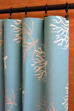 SALE Curtain Panels Pair 50W x 63, 84, 90, 96 or 108L in the Isadella Coral Coastal Blue Grey Collection