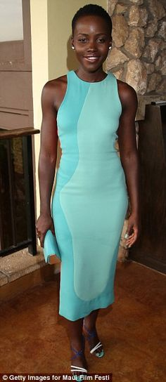 Standing out: Lupita Nyong'o aught the eye in a mint green dress