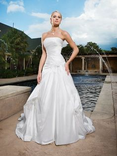 Shantung Strapless Directionally Pleated Bodice A-line Wedding Dress