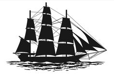 Silhouettes of many styles of ships