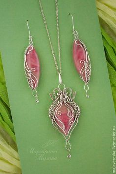 Купить Серебряные серьги и кулон с родонитом - родонит натуральный, родонит, кулон с родонитом, кулон с камнем #wirejewelry