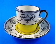 Ye Olde English Grosvenor Yellow and Black Urn Design Demi Tea Cup & Saucer Set
