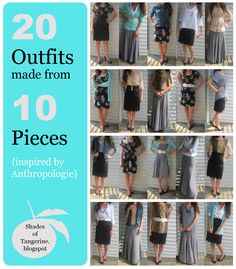 20 Outfits Made from 10 Pieces - all from Goodwill Outlet Center (inspired by Anthropologie)