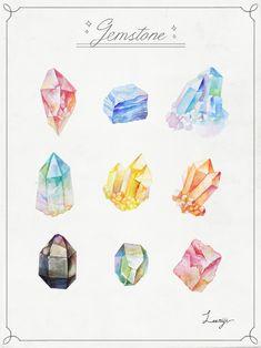 돌과 보석들(보석 일러스트/수채화/예쁜/감성/이미지/leemiji) : 네이버 블로그