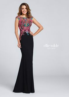 Ellie Wilde EW117054 - Jersey sheath with illusion bateau neckline, boho-inspired embroidery on cap sleeves and deep plunging sweetheart bodice, deep V-back.  Sister dress to style EW117053.