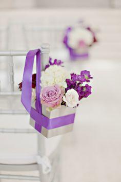 Lavender and Cream Floral Aisle Decor