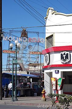 Mexican version of Paris Moulin Rouge, seductive dance place. Molino Rojo bar does not exist any more except this sign. Tijuana, Mexico, Baja California.